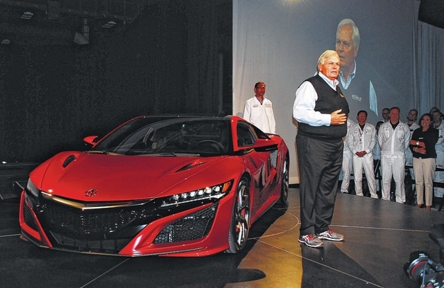 Rick Hendrick, owner of Hendrick Motorsports and chairman of Hendrick Automotive Group, speaks to Honda officials and associates after accepting the keys to his 2017 Acura NSX VIN 001, which rolled off the production line Tuesday at Honda's Performance Manufacturing Center in Marysville. Hendrick paid $1.2 million at auction to own the first serial production of the American-made supercar.
