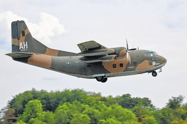 """Thunder Pig,"" the only flying C-123K in the country, is scheduled to be on display during Military Appreciation Day on Saturday, June 11, at Grimes Field in Urbana. The aircraft is owned by the Air Heritage Museum in Beaver Falls, Pennsylvania."