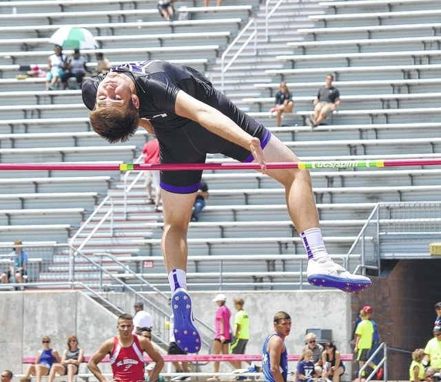 Mechanicsburg's David Harvey leaps over the bar during the high jump competition at Jesse Owens Memorial Stadium on Friday. Harvey finished 7th in the high jump (6-03) and 11th in the long jump (20-01.75).