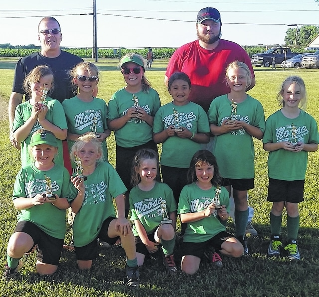 The Urbana Moose team is 8U Urbana Youth Sports/Champaign County softball league's 2nd place winner. The team includes top from left, Coach Dave, Coach Blake, second row, Mattison, Alayna, Corynn, Aubrey, Morgan, Addison, bottom row, Lola, Bailey, Braelyn and Mallory.