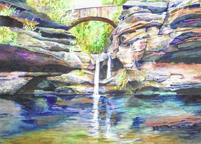 "Featured artist Dan Knepper's ""Water Under the Bridge"" repsresents this year's Art Affair on the Square."