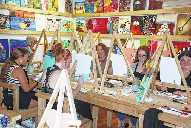 The newest offering in downtown Urbana is Kerr Farm Paint & Sip at the corner of West Market Street and South Main. Paint & Sip offers indoor and outdoor (weather permitting) areas for painting classes and private parties. Pictured is a private party arranged for someone's birthday.
