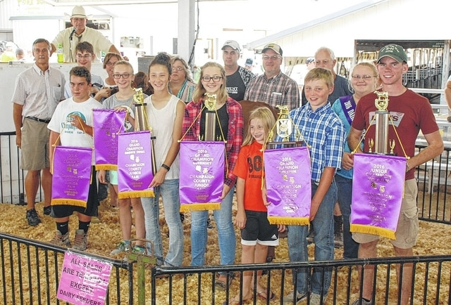 Champaign County Fair Dairy Champions Hayden King (Grand Champion Holstein), Gabby Terry (Grand Champion Brown Swiss), Rachel Lokai (Grand Champion Guernsey and Junior Champion Guernsey), Matthew Richards (Grand Champion Jersey and Supreme Grand Champion), Shem Pond (Junior Champion Holstein and Supreme Champion), Annalise Forman (Junior Champion Brown Swiss), Sam Eades (Junior Champion Jersey, Junior Champion Milking Shorthorn and Junior Champion Ayrshire), will share the $1,700 sale price. Buyers are Heritage Cooperative, Stan-Mar-Dale Express, Civista Bank, Jim and Kay Morgan, Jeff and Kim Pond, Hopskins House, Doug Vandiford, David and Wendy Lane of Elite Custom Iron Works, Gretchen Lapp, Erie Insurance - Nancy Martin, Eades, Terry Farms, Mike and Holly Phelps, All Phase Electric, Tony King and Family, Pond-Ridge Farm, Shell Ray Jerseys, Da Ray Ayrshires, Townsley Farm, Lantz Farm and King Feed and Supply.