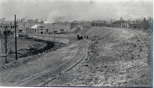 The double tracking and elevation of the Big Four Railroad changed the Urbana landscape in 1926.