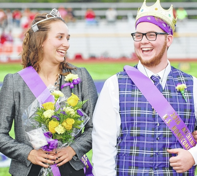 Mechanicsburg hosted homecoming Friday night, including the crowning of the 2016 homecoming king and queen during pregame festivities. Pictured are 2016 Queen Mary Mayo celebrating the moment with 2016 King Peyton O'Laughlin. Mayo is the daughter of Jim and Susie Mayo. O'Laughlin is the son of Scott and Jennifer O'Laughlin.