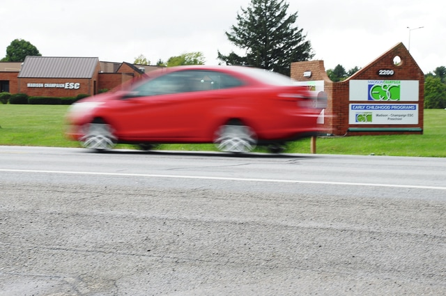 A busy stretch of U.S. Route 68 in front of Madison-Champaign Educational Service Center needs a marked school zone with flashing lights, according to ESC officials. The state of Ohio disagrees because ESC is only a preschool. When the facility housed Lawnview, the school zone was permitted.