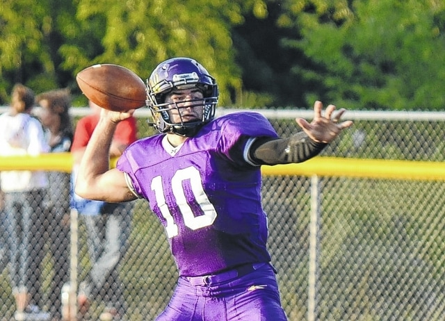 Mechanicsburg's Kaleb Romero (pictured) drops back to pass earlier in the season. As the Indians continue to roll toward a playoff berth and potential deep run, developing the passing game becomes an important factor.