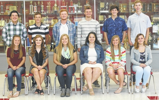 It's Homecoming Week at Triad High School. The homecoming court will be announced, with king and queen crowned, starting at 6:30 p.m. at the football game on Friday. Front row: (from left to right) Sindney Louck, Ellie Osterholt, Lauren McCall, Jennifer Sizemore, Ali Dixon, Kylee Overfield. Back row: (from left to right) Gregory Sizemore, Dylan Van Tassell, Jacob Greve, Colby McConnell, Shane Ford, Thomas O'Neal.