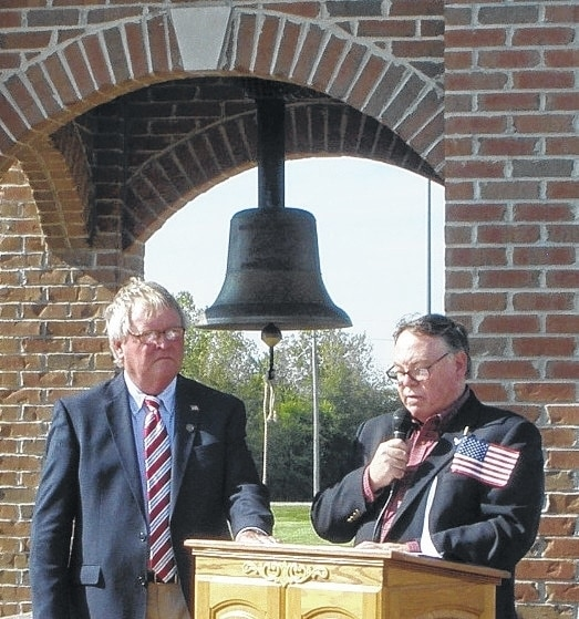 Vietnam veteran Bob Max, left, and Urbana Mayor Bill Bean were among the participants at the annual DAR Constitution Week bell ringing ceremony at Freedom Grove on Sept. 16. Bean was the speaker for the event and Max rang the community bell.