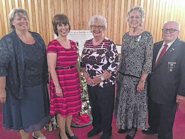 From left are Teresa Pience, Worthy Matron; Denise Vanderhorst, Deputy Grand Matron; Shirley Steinberger; Marilyn Foulk; Bill Palmer, Worthy Patron.