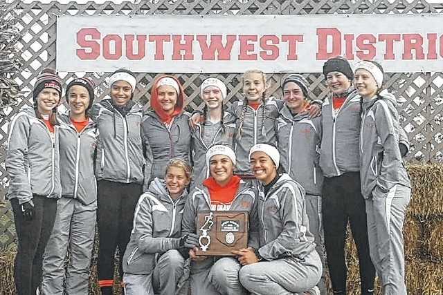 The West Liberty-Salem girls' cross country team finished fourth at the Division III district meet. The team finish gave the Tigers a district runner-up title in the combined district races.