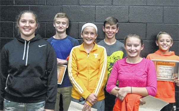 West Liberty-Salem Middle School's September Students of the Month are 8th graders Anna McGill and Keeghan Brown, 7th graders Hallie Smith and Logan Saylor and 6th graders Allie Bolton and Owen Harrison.