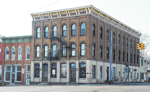 """Included in the National Register of Historic Places, the old hotel at 1 S. Main St. in downtown Mechanicsburg is what Zoning Officer Dusty Hurst calls a """"prime example"""" of a vacant property that stands to benefit from Village Council's proposed Vacant Building Maintenance Enforcement Program."""