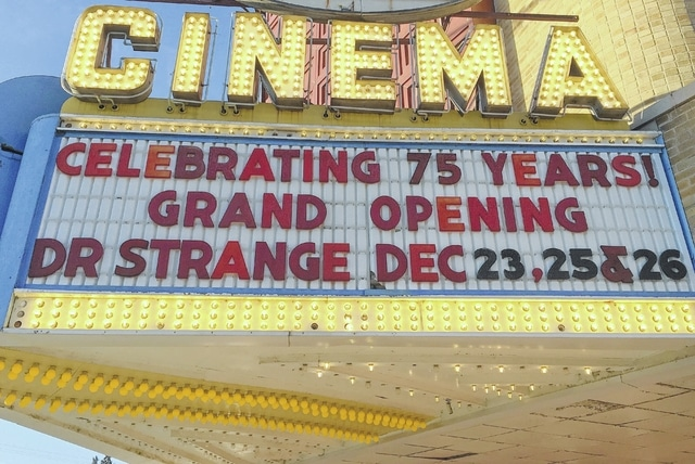 "The Gloria Theatre marquee shows this weekend's upcoming feature, ""Doctor Strange."""