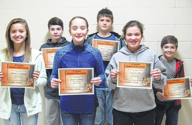West Liberty-Middle School Students of the Month of November are 8th graders Madison Bahan and Mason Powell, 7th graders Keirra Gilroy and Shaden Shafer and 6th graders Kayla Cole and D.J. Yoder.