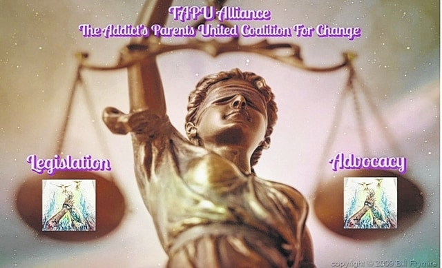 "TAPU Alliance has a public Facebook page for ""a coalition of passionate individuals, banning together to advocate and effect positive change to combat the drug addiction epidemic in America."" Pictured is the logo on Facebook."