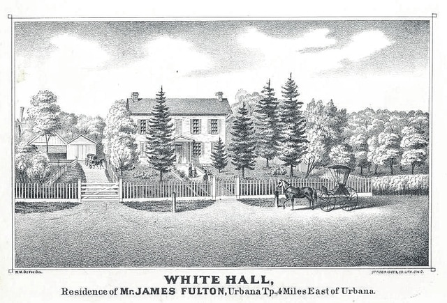 """The James W. Fulton farm """"White Hall"""" was illustrated in the 1874 Atlas of Champaign County."""