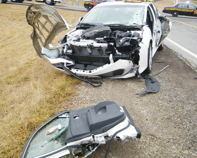 Two occupants of a 2015 Toyota Avalon were transported to Springfield Regional Hospital following a crash with a semi truck Wednesday at state Route 4 and state Route 56. The driver of the semi was cited for failure to yield.