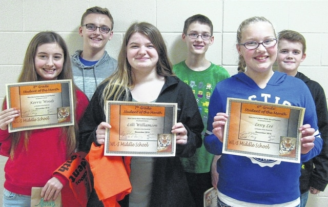 West Liberty-Salem Middle School's December Students of the Month are 8th graders Kerris Woods and Wyatt Wilcoxin, 7th graders Lilli Williamson and Brandon LaRoche and 6th graders Lexy Lee and Christian Davis.
