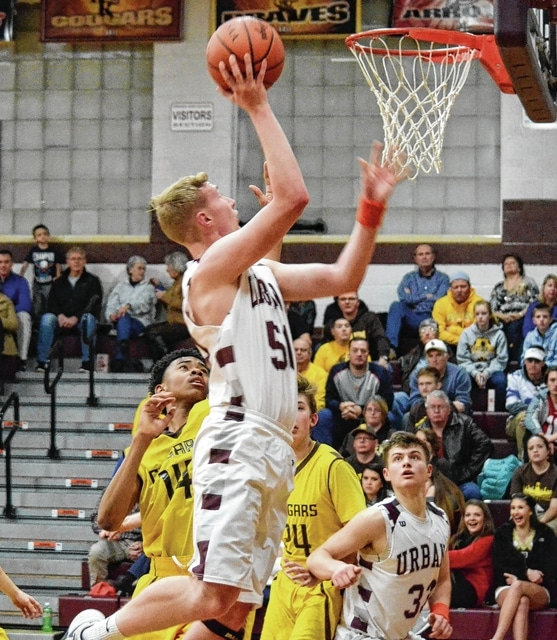 Urbana's Levi Boettcher lived above the rim Friday night, feasting on Kenton Ridge's smaller forwards. Boettcher helped power Urbana to a win over the visiting Cougars, scoring 11 points.