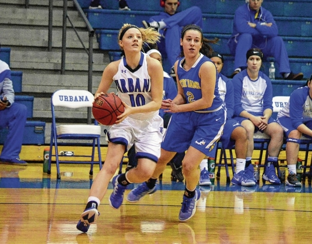 Urbana University's Morgan Mattimore blows past Notre Dame College's Marisa Finazzo on the baseline Thursday at the Grimes Center. The Blue Knights lost, 81-67. In the men's game on Thursday, UU fell, 96-75.