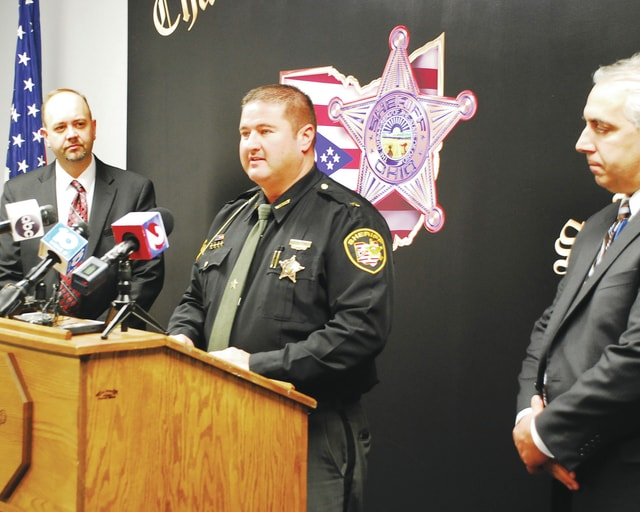 The Champaign County Sheriff's Office hosted a press conference Friday afternoon to discuss the shooting at West Liberty-Salem High School. In addition to Sheriff Matt Melvin, center, West Liberty-Salem Schools Superintendent Kraig Hissong, left, and Champaign County Prosecutor Kevin Talebi provided an update on the shooting victim, suspect and investigation.