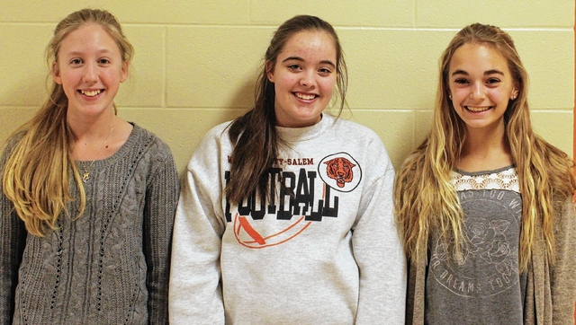 West Liberty-Salem Middle School's Spelling Bee winner is Maria Henderson, left. Second and third places went to Katie Rollins, center, and Megan Adams, respectively.
