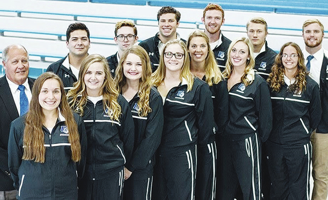 The Urbana University men's swimming program (pictured with the women's team) led the nation again with the top-ranked NCAA Division II team grade-point average.