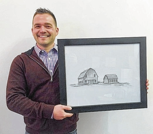 Dusty Hurst is a Realtor with Real Living Darby Creek and president of the Champaign County Preservation Alliance. His art depicts a rural setting.