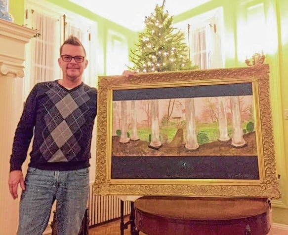 Glenn Sullivan is a physicist at Cardinal Health and owner of the Kiser Mansion in St. Paris. His painting features a view from the porch of his home, his favorite place to have a cup of coffee or glass of wine.
