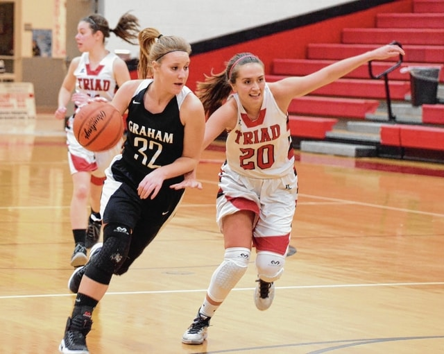 Graham's Kayla Tullis (32) drives to the basket in transition while Triad's Tori Thomas (20) tries to recover defensively on Wednesday at Triad.