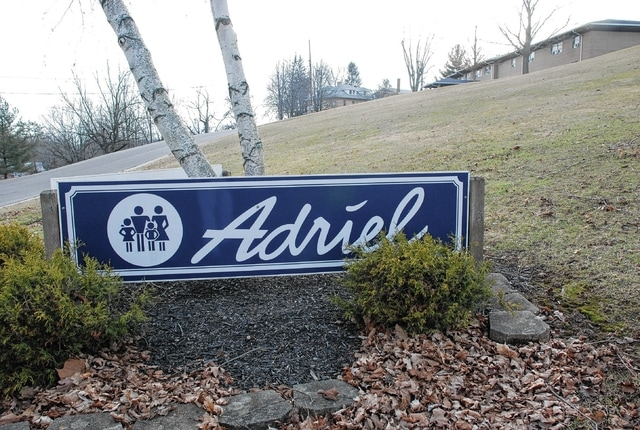 The Adriel sign is pictured near the residential facility's campus.