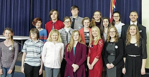 Participants in the regional History Day competition include, first row from left, Jena Campbell, Andrew Pickering, Lillian Matteson, Raegan Hepp, Gaitlin Ridgewell, Paige Martinez, Stephanie Selvaggio, second row from left, Lainey Hixon, Isabelle Laughbaum, Grace Hepp, Marah Donohoe, Trey Williams, third row from left, Eli Colbert, Zachariah Pence, Cali Christian and Kyle Baer.