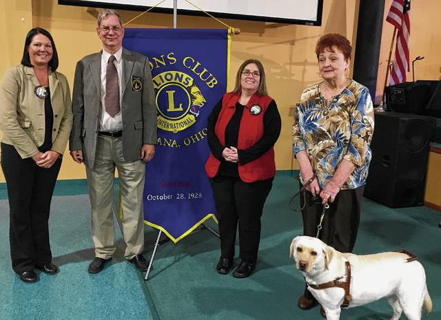 At the March 8 Urbana Lions Club meeting, Lion Tonya Barrett was in charge of the program. She invited the Pilot Dogs Inc. from Columbus to the meeting. Lion President Audra Bean was proud to present a $2,000 donation to Ray Byers from Pilot Dogs Inc. From left are Bean, Byers, Barrett, Patricia Foltz and her pilot dog, Gracie Ruth.