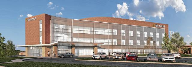 This rendering depicts the future Memorial Hospital of Marysville's exterior and main entrance.