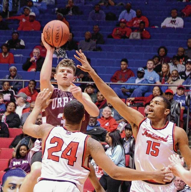 Urbana's Riley Emmons (33) gathers and shoots over Trotwood Madison's Torrey Patton (24) and Justin Stephens (15) during the Division II district final on Wednesday at the University of Dayton Arena.