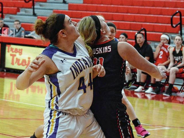 Mechanicsburg's Shannon Barch (44) works to position herself for a rebound on Thursday at Troy High School. Barch and Mikayla Dodane participated in the Division IV District 9 Senior All-Star showcase games Thursday evening, along with Triad's Alec Ober and Thomas O'Neal in the boys contest.