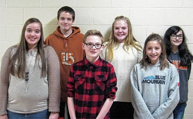 The West Liberty-Salem Students of the Month in February were 8th graders Katie Rollins and Adam Watkins, 7th graders Ali Gault and Ayden Estep and 6th graders Arianna Chapman and Anika Christison.