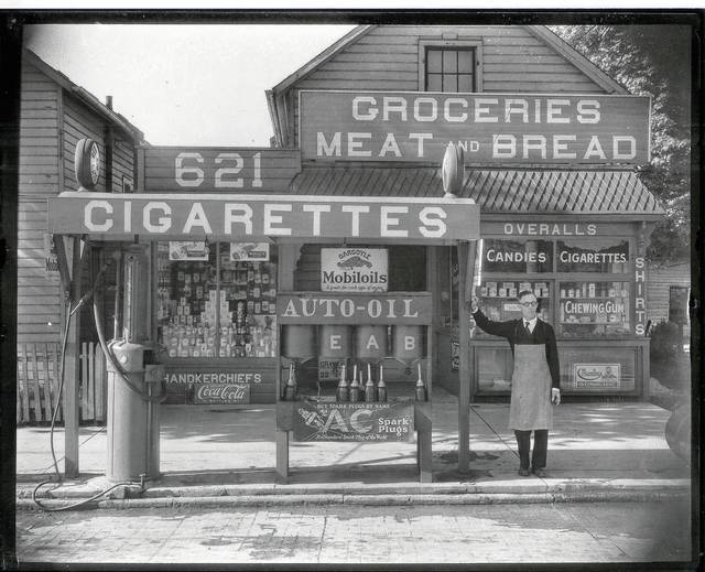This photo is of Burton Guthrie's Grocery and Filling Station, 621 Miami St., Urbana, circa 1927.