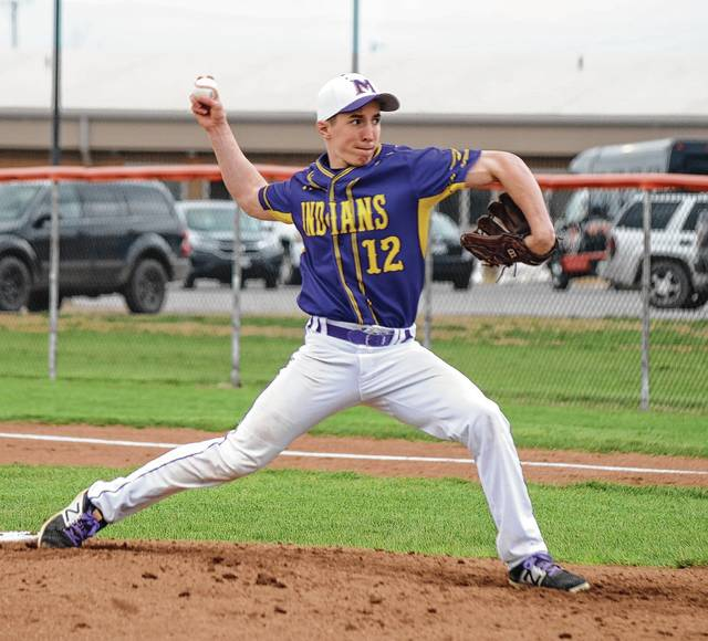 Mechanicsburg's Corey Bogan delivers a pitch to the plate versus West Liberty-Salem on Monday. The score was tied 0-0 in the 5th when the game was called by rain.