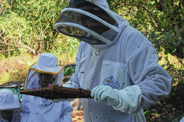 Ben Dunham, formerly of rural Urbana, handles a beehive in Nicaragua. Dunham, his wife and the couple's 11 children are living in Central America as they attempt to change lives through their nonprofit organization, Thirsty Souls Mission.