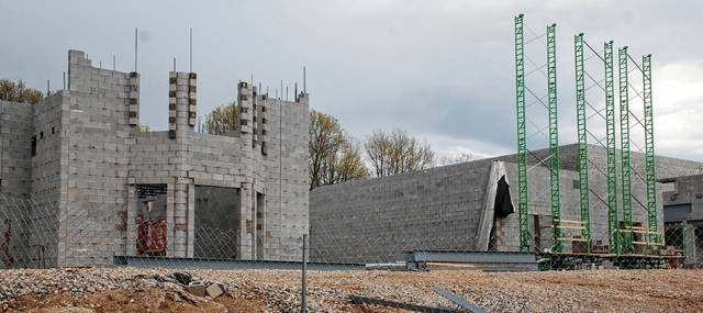 """A design tribute to the iconic """"Castle building"""" is beginning to take shape in the newly-constructed Urbana High School building on the Washington Avenue campus. If all goes well, Urbana high schoolers should be in the new high school building in spring 2018. An update on the new schools will be part of the upcoming 2017 <em>Urbana Daily Citizen</em> Progress Edition, slated to be published April 27."""