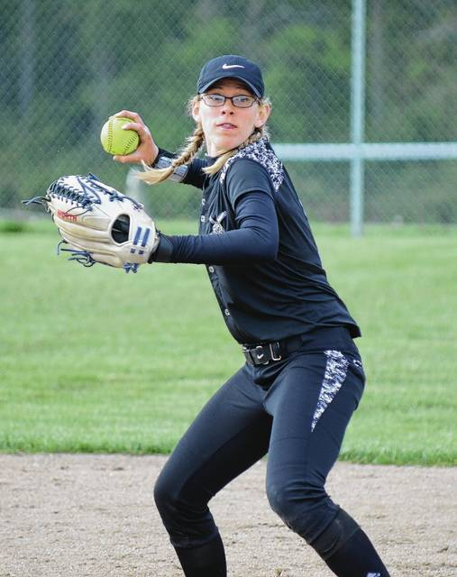 Graham shortstop Ashton Curnutte throws a runner out at first, helping to preserve a Madison Bryant no-hitter against Urbana on Tuesday.
