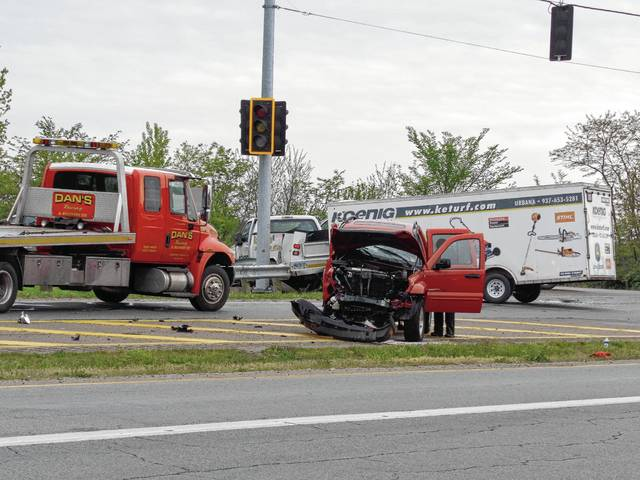 A driver was cited with failing to yield the right of way following this crash that occurred at Springfield-Urbana Pike and U.S. Route 68 on Tuesday.