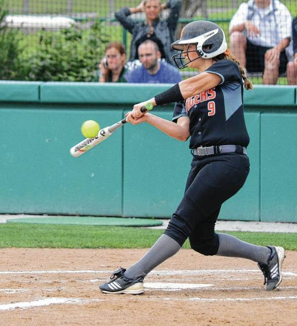 West Liberty-Salem's Dierdre McGill smacked a double down the right field line in the second inning that scored both Hallie and Kelby Strapp and tied the game at 2-2 on Wednesday at Wright State.