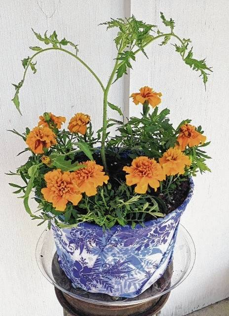 Workshop participants will create this Make-n-Take decoupage plastic pot.