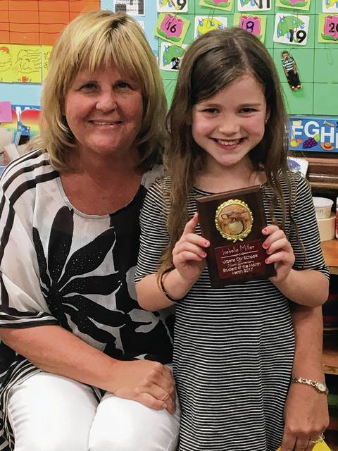 Urbana North Teacher Trout and her Student of the Month, Isabella Miller
