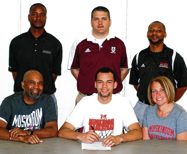 Pictured are, seated from left, Kalen Howell Sr, Kalen Howell Jr, Brenda Howell, standing from left, Jaye Randolph, Jeremy Dixon and Tray Huntsman. Urbana senior Kalen Howell Jr signed to play basketball at Muskingum University next year. He decided to dedicate himself to the game of basketball at an early age, playing AAU basketball for Huntsman Select. He was a member of two CBC Championship Teams and two OHSAA Southwest District Sectional Championship teams. He was selected as 2nd team CBC and was chosen to play in the District Nine All star game his senior year. He was coached by Urbana High School coach Jeremy Dixon and by Huntsman Select coaches, Tray Huntsman and Jaye Randolph. He will graduate from Urbana High School with a 2.92 GPA and plans to study Business Management and Sports Administration at Muskingum.