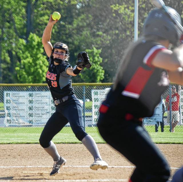 West Liberty-Salem's Kelsey Day hurls a pitch into the strike zone on Monday against Indian Lake at Northmont High School. Day and the Tigers prevailed, 1-0, to advance to the district final.