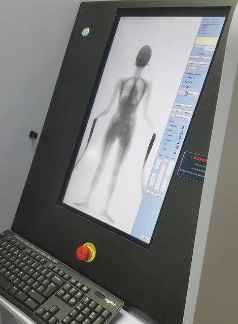 Pictured is an example of the image presented to jail staff when an inmate is scanned using the jail's body scanner.